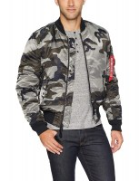 Alpha Industries Mens MA-1 Slim Fit Tonal Black Camo